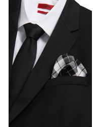 HUGO - Black Silk Pocket Square: 'pocketsquare 33x33cm' for Men - Lyst
