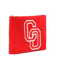 Charlotte Olympia Red Varsity Suede Clutch
