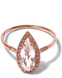 Suzanne Kalan | Pink Rose Gold White Topaz Diamond Ring | Lyst