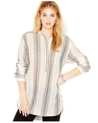 Lucky Brand | Natural Lucky Brand Striped Henley Blouse | Lyst
