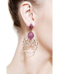 Bochic - Red White Diamond Openwork Earrings with Ruby - Lyst