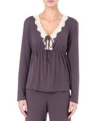 Eberjey - Brown Lady Godiva Pyjama Top - Lyst