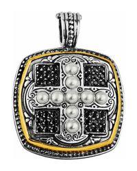 Konstantino - White Spinel & Pearl Square Cross Pendant Enhancer W/18k - Lyst