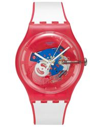 Swatch - Unisex Swiss Clownfish Red White Silicone Strap Watch 41mm Suor102 - Lyst