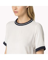 Tommy Hilfiger | White Cotton Modal Short Sleeve Top | Lyst