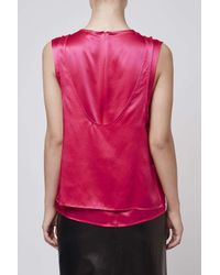TOPSHOP | Pink Double Layer Satin Shell Top By Boutique | Lyst
