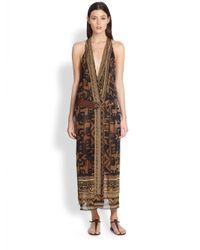 Donna Karan | Brown Printed Stretch Silk Wrap Dress | Lyst