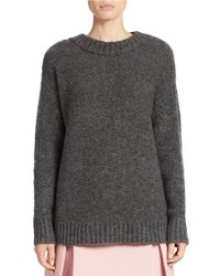 424 Fifth | Gray Oversized Boucle Crewneck Sweater | Lyst