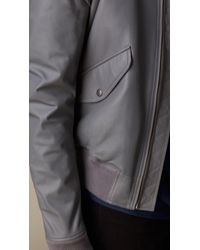 Burberry Gray Nappa Leather Bomber Jacket for men