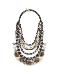 Erickson Beamon Metallic 'weeping Angel' Crystal Pavé Ball Charm Tier Necklace