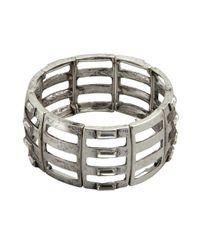 R.j. Graziano - Metallic Metal Crystal Trim Link Stretch Bracelet - Lyst