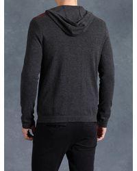 John Varvatos | Black Cotton Zip Front Hoodie for Men | Lyst