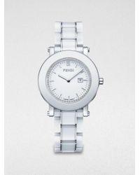 Fendi | Diamond, Ceramic & Stainless Steel Bracelet Watch/white | Lyst