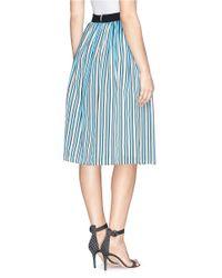 Tanya Taylor Blue 'margot' Regimental Stripe Skirt