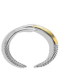 David Yurman Yellow Labyrinth Double-loop Cuff With Diamonds & Gold