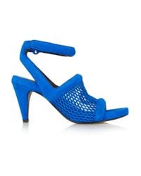Alexander Wang Blue Leah Suede And Honeycomb-mesh Sandals