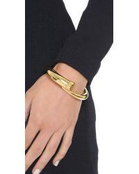 Michael Kors Metallic Tusk Bypass Hinged Bracelet - Gold