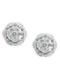Effy | Metallic Pave Classica Diamond And 14k White Gold Flower Stud Earrings | Lyst