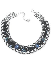 Guess | Black Hematite-tone Crystal Woven Chain Necklace | Lyst