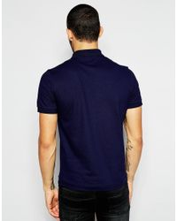 Lacoste L!ive | Blue Polo Shirt With Large Croc Slim Fit for Men | Lyst