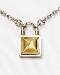 Rebecca Minkoff | Metallic Locked Charm Short Necklace, 16"
