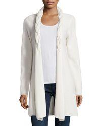 Neiman Marcus - White Reverse Braided Cashmere Cardigan - Lyst