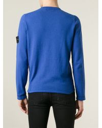 Stone Island | Blue Logo Patch Sweater for Men | Lyst