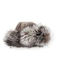 Muhlbauer Gray Talja Fox Fur Trimmed Beanie