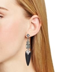 Alexis Bittar - Black Lucite Brilliant Cut Baguette Drop Earrings - Lyst