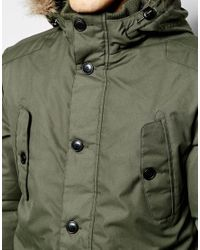 Jack & Jones - Green Parka With Faux Fur Hood for Men - Lyst
