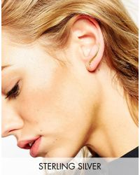 ASOS - Metallic Gold Plated Sterling Silver Curved Ear Climber - Lyst