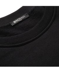 Balmain - Black Leather Panelled Cotton Jersey Sweatshirt for Men - Lyst