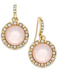 INC International Concepts | Gold-tone Pink Pavé Stone Drop Earrings | Lyst