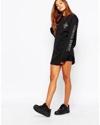 Criminal Damage Black Long Sleeve T-shirt Dress With Arm Logo Print