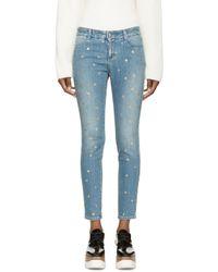 Stella McCartney Blue And Gold Polka Dot Skinny Jeans