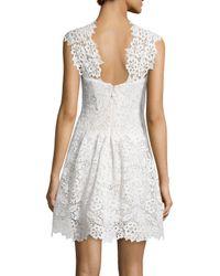 Monique Lhuillier - White Mock-neck Guipure Lace Dress - Lyst