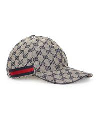 Gucci Gray Gg Navy Canvas Cap for men