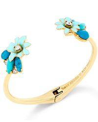kate spade new york | Metallic Gold-tone Glossy Petals Cuff Bracelet | Lyst