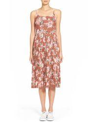 Hinge - Brown Floral Print Midi Dress - Lyst