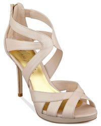Marc Fisher - Natural Ziro High Heel Platform Sandals - Lyst