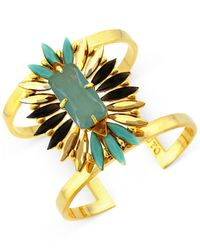 Vince Camuto | Metallic Gold-Tone Stone Cluster Drama Cuff Bracelet | Lyst