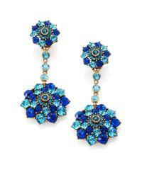 Oscar de la Renta - Blue Clustered Stone Clipon Drop Earrings - Lyst