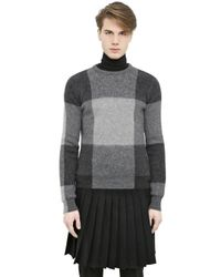 Alexander McQueen Gray Check Wool Mohair & Merino Blend Sweater for men