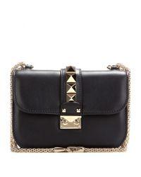 Valentino Black Lock Small Leather Shoulder Bag