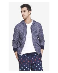 Express - Blue Marled French Terry Zip Hoodie for Men - Lyst