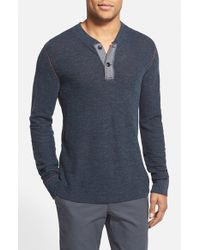 Grayers - Blue 'byron' Double Cloth Cotton Henley for Men - Lyst
