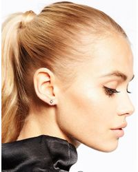 Pieces - Metallic Stud Earrings With Cuff Set - Lyst