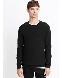 Vince Black Wool Cashmere Mixed Stitch Crew Neck Sweater for men