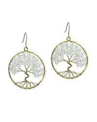 Aeravida | Metallic Eternal Tree Of Life White Pearl Branch Brass Dangle Earrings | Lyst