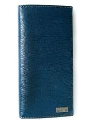 Ferragamo - Blue Textured Wallet for Men - Lyst